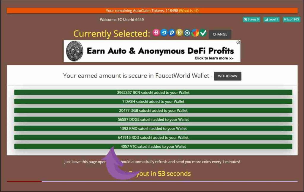 faucetword earning proof